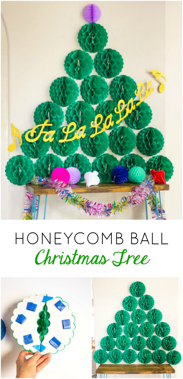 Make a Christmas tree out of tissue paper honeycomb balls! Perfect Christmas wall or holiday party decoration!