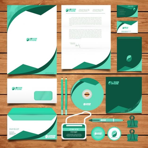 Corporate green identity design Free Vector