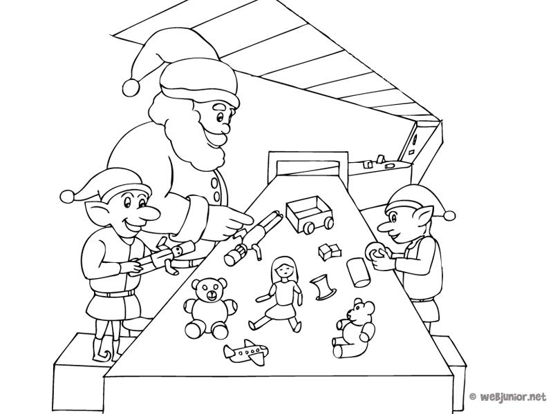 hình ảnh ông già noel cùng những chú hề đang tạo ra những món quà giáng sinh độc nhất vô nhị