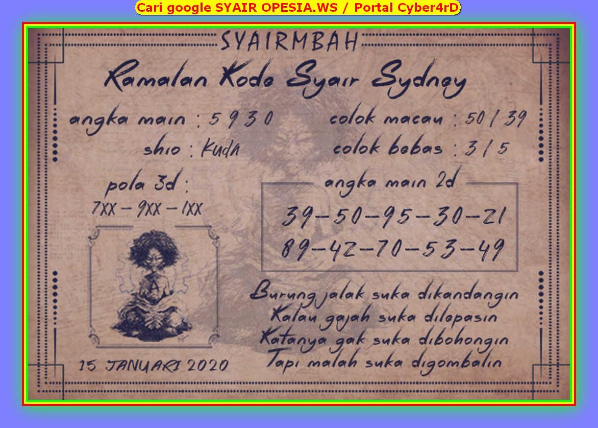 Kode syair Sydney Rabu 15 Januari 2020 53