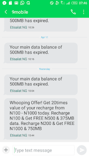 9mobile whooping offer: Get 750MB and N1000 airtime with just N200 only, and more