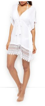 New Look white Textured Crochet Trim Kaftan