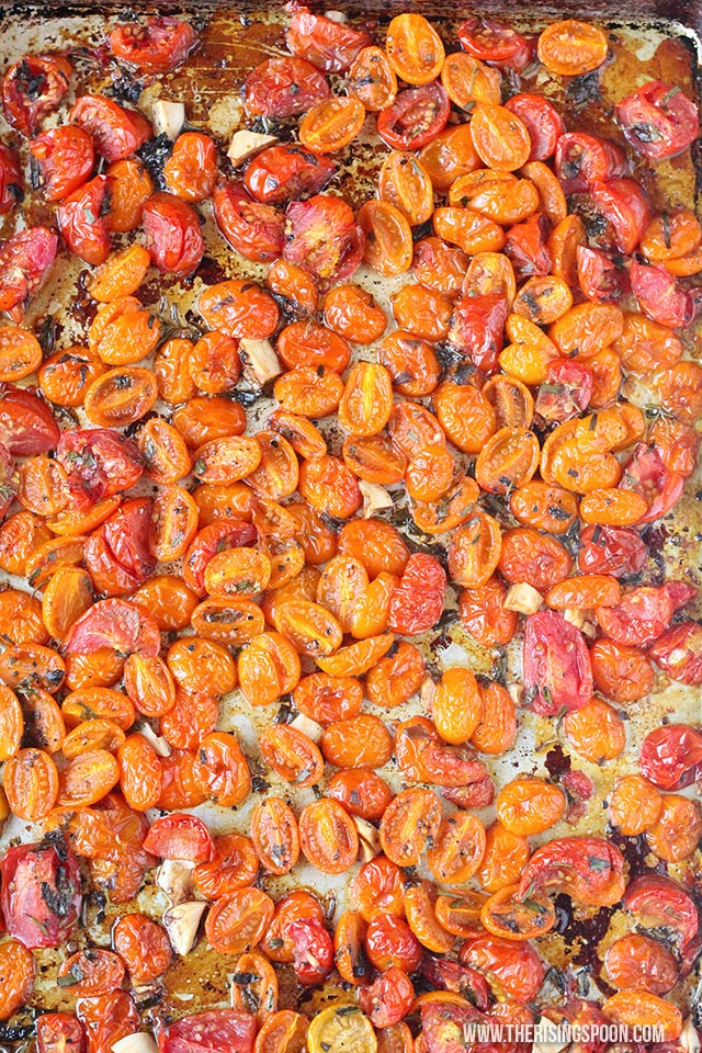 Fresh tomatoes roasted with herbs, garlic, olive oil, balsamic vinegar & seasonings. Roasting the tomatoes concentrates their sweetness and helps preserve them if you're going to freeze them to use in the winter months.