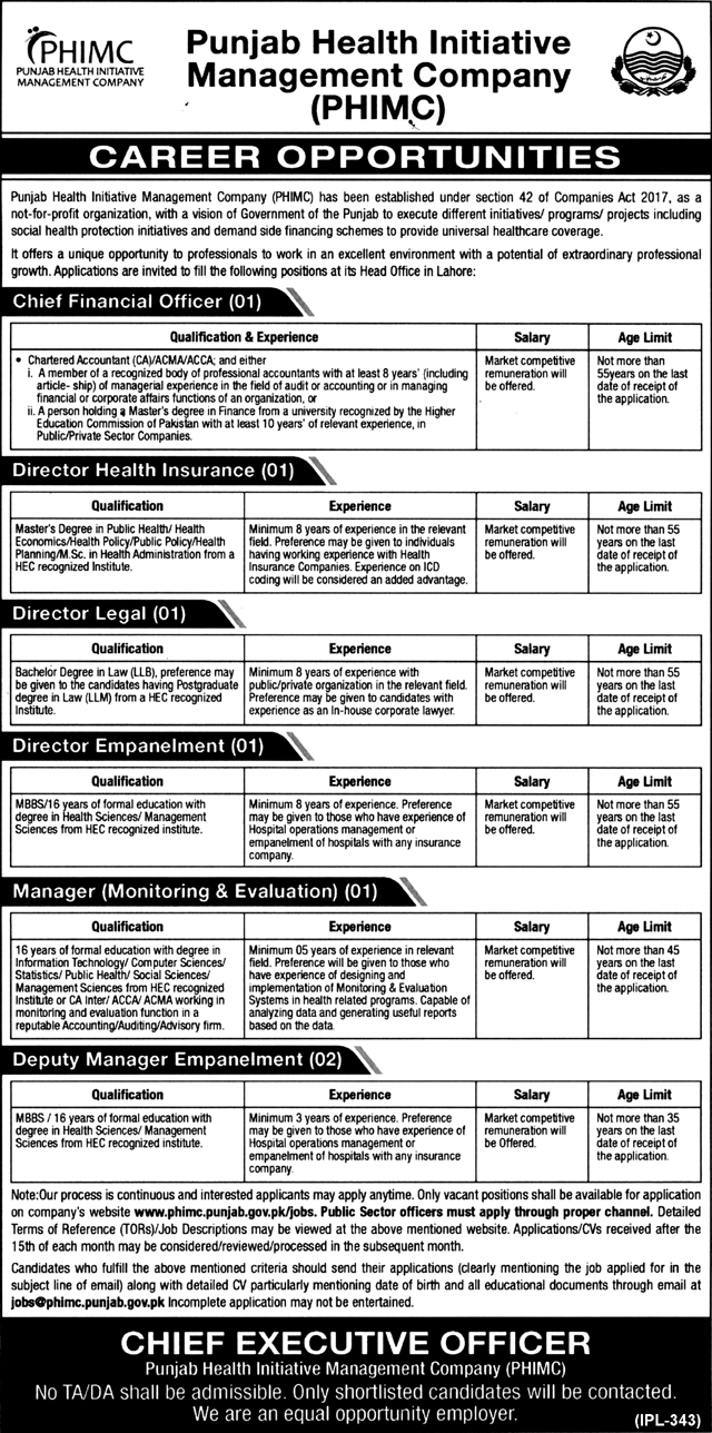Jobs In Punjab Health Initiative Management Company PHIMC