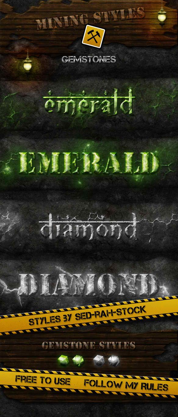 Mining Gemstones Text Styles