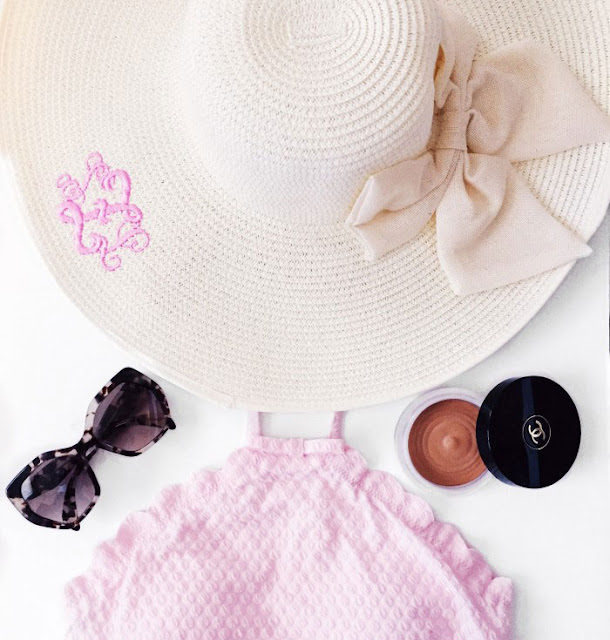 monogrammed sun hat with pink monogram