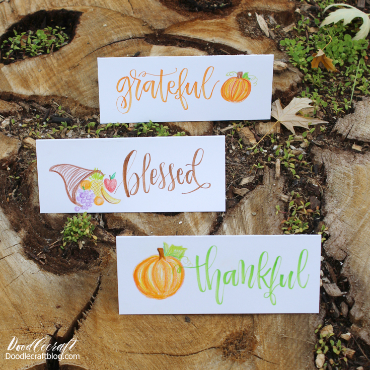 Easy diy to make your Thanksgiving tablescape stand out--place cards with thankful words and autumn images colored with tombow color pencils 24 roll.