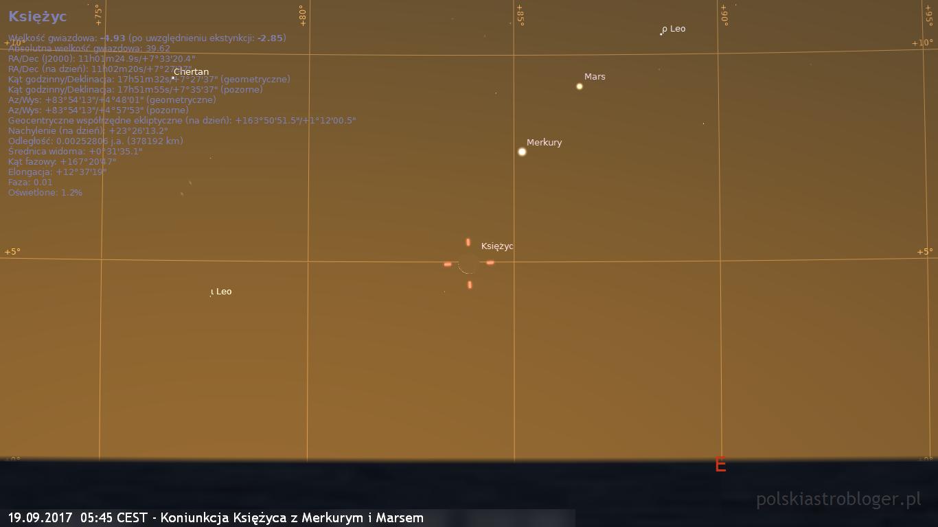 19.09.2017  05:45 CEST - Koniunkcja Księżyca z Merkurym i Marsem