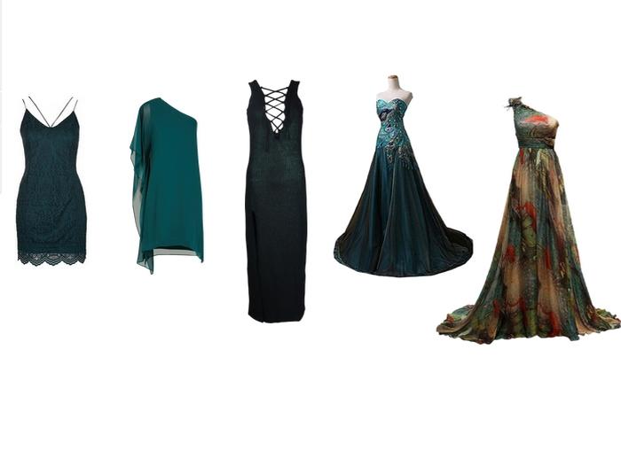 331e3f45d2ce Sehnat šaty v petrolejové nebo tmavě zelené barvě je opravdový oříšek. Já  je zatím ještě neobjevila. Zálusk mám na šaty č. 2 - ideální na nějaké  společenské ...