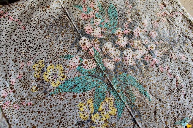 vintage 1950s mid century novelty metallic floral tiki barkcloth pink, blue, yellow