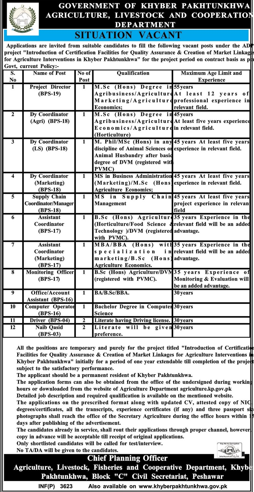 Jobs In Agriculture Department Govt Of KPK  Aug 2017