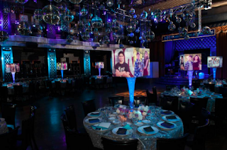 large illuminated photo centerpieces for mitzvah