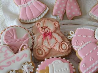 Galletas bebé rosa y blanco