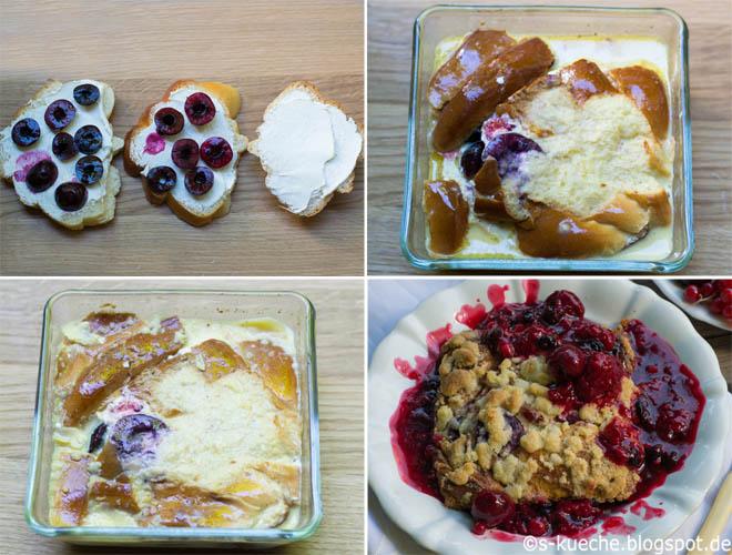 Rote Grütze mit Vanillesauce und French Toast