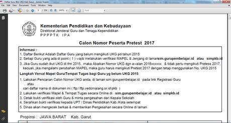Daftar Calon Nomor Peserta Pretest 2017 File Sekolah