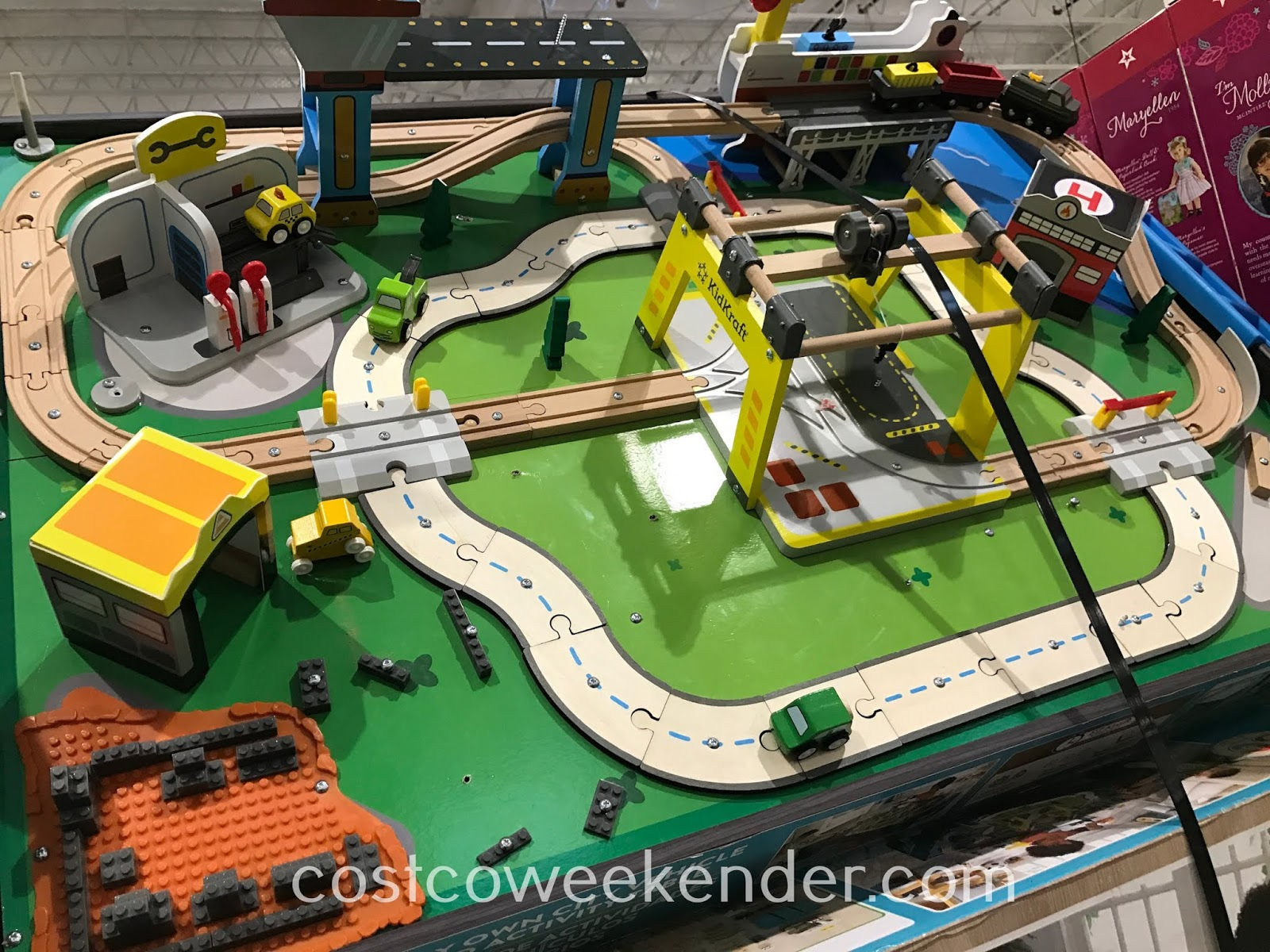Give your child a place to play with Legos, trains, and toy cars with the KidKraft My Own City Vehicle and Activity Table