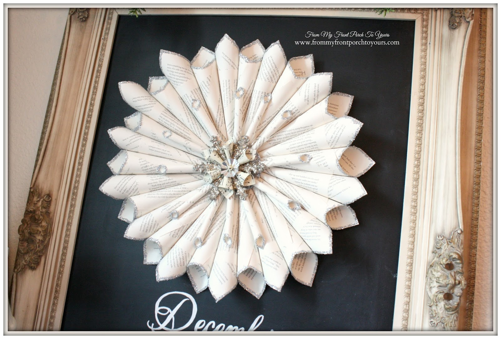 Book Page Wreath-French Farmhouse Vintage Christmas Dining Room- From My Front Porch To Yours