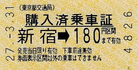 東京都交通局 購入済乗車票