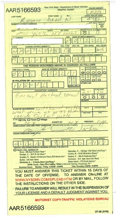 Traffic Ticket Nyc >> Type 2 Clydesdale Cyclist Bicycle Speeding Ticket Central