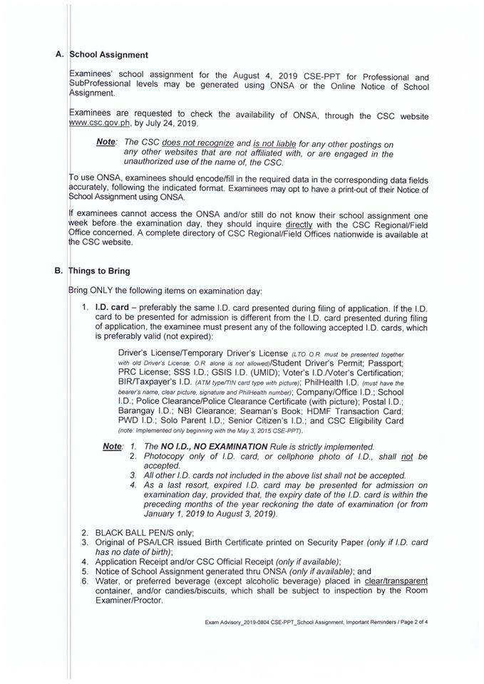 Civil Service Exam PH: Room and School Assignment (ONSA) and