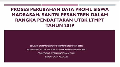 Buku Panduan Edit Data Siswa UTBK LTMPT Madrasah 2019
