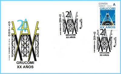 Sobre con sello personalizado del 20 aniversario de GRUCOMI