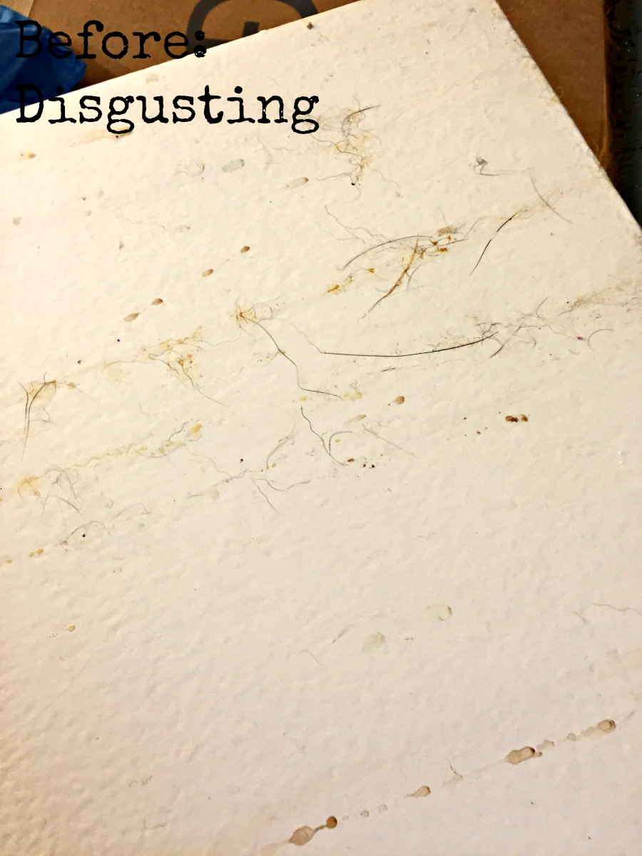 Close up of dirty kitchen cabinets