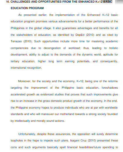 k 12 education program in the philippines