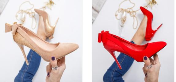 Pantofi de ocazie eleganti cu toc aurii, rosii cu fundita la spate