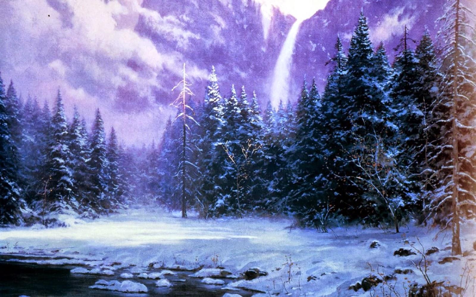 Fondo Escritorio Paisaje Nevada En Cumbre: Fondo De Pantalla Paisaje Bosque De Nieve