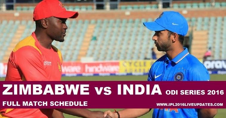 India Tour Of Zimbabwe Schedule 2016 ,Zimbabwe Vs India