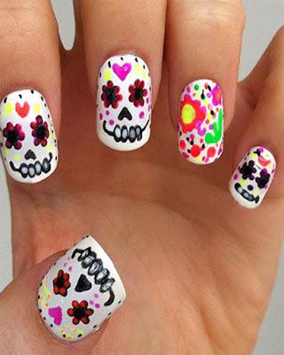 decoracion de uñas de halloween dia de los muertos