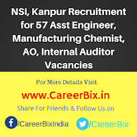 NSI, Kanpur Recruitment for 57 Asst Engineer, Manufacturing Chemist, AO, Internal Auditor Vacancies