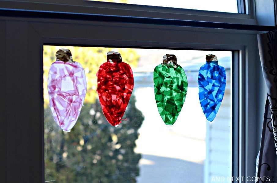 giant christmas light suncatchers  christmas craft for kids