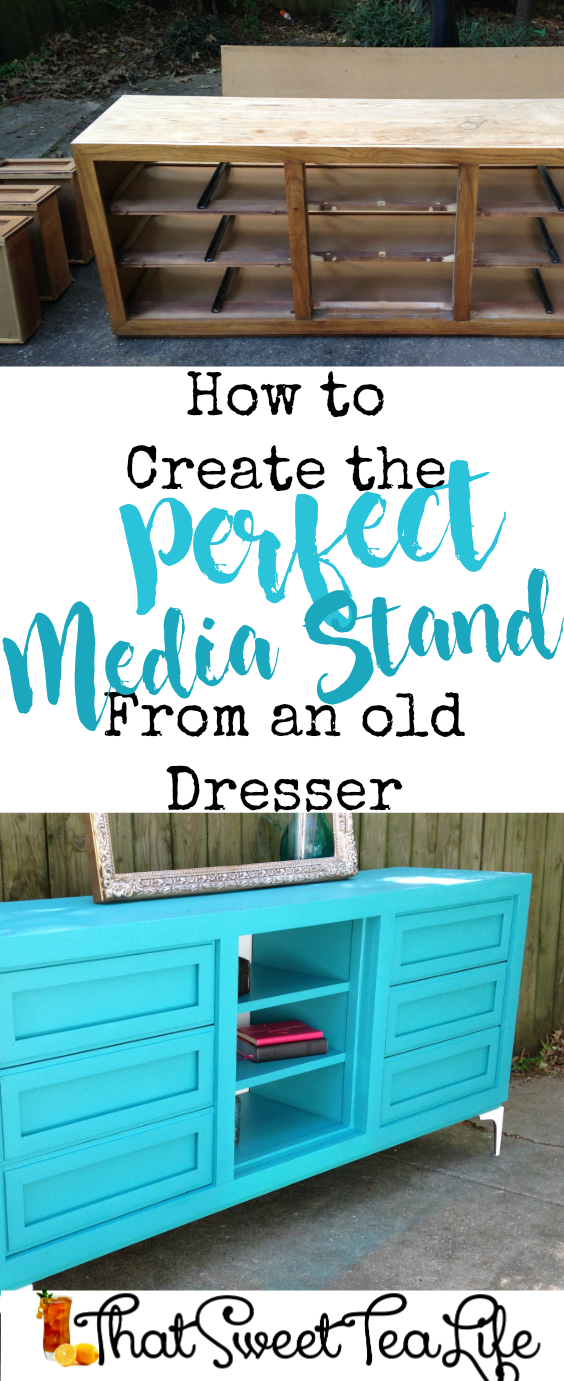 Create a media stand you love from an old dresser! pin #dresserconversion #repurposedresser #Olddressersideas #howtoputashelfinadresser #convertdresserdrawerstodoors #howtorepurposeadresserwithoutdrawers #howtoturndresserdrawersintoshelves #howtoturnadresserintoabookcase #repurposeddressertvstand