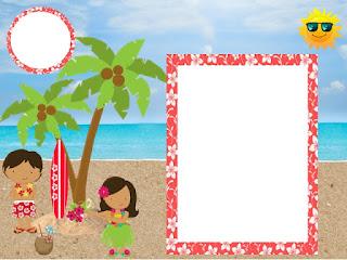 Para hacer invitaciones, tarjetas, marcos de fotos o etiquetas, para imprimir gratis de Fiesta Hawaiana de Chicas.