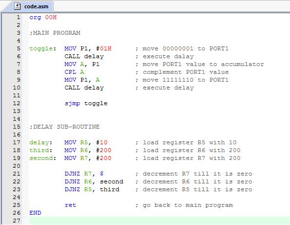 8051 Microcontroller: 8051 LED TOGGLE PROGRAM CODE