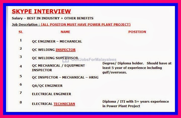 Power Plant Project Iraq _ Skype Interview ~ Gulf-Jobs
