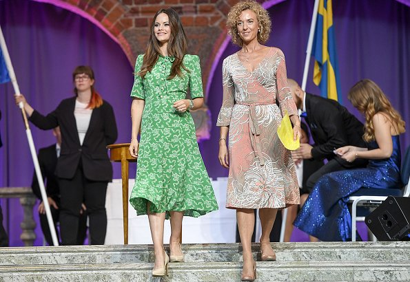 Princess Sofia wore LK Bennett Montana Silk Dress, and she wore Stinaa. J Shoes, she carried Salvatore Ferragamo clutch