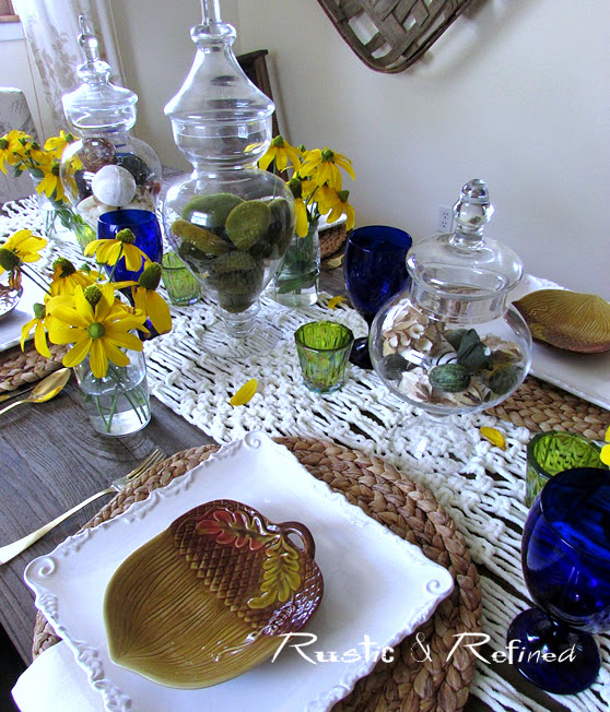 yellow and blue table setting with elegant bohemian style