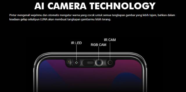 Spesifikasi Luna G60X fitur AI Camera otomatis mengatur warna yang cocok untuk semua tangkapan gambar