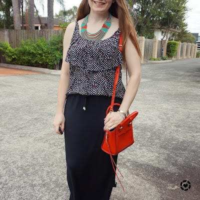 awayfromblue instagram ruffle polka dot cami and drawstring waist maxi skirt red avery bag