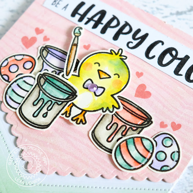Sunny Studio Stamps: A Good Egg Happy Painting Chick Everyday Card by Lexa Levana