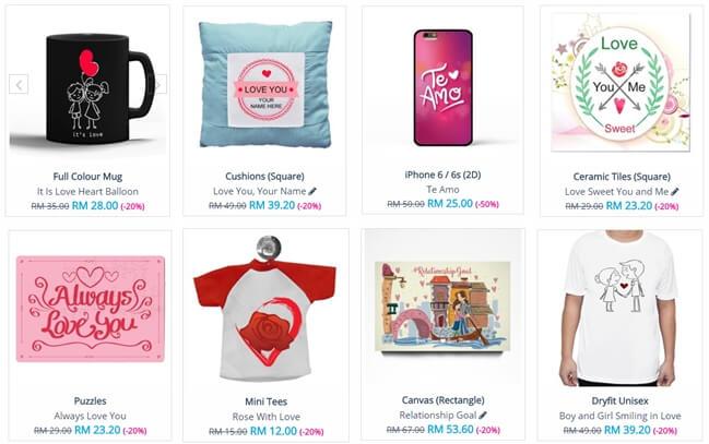hadiah hari kekasih, printcious.com