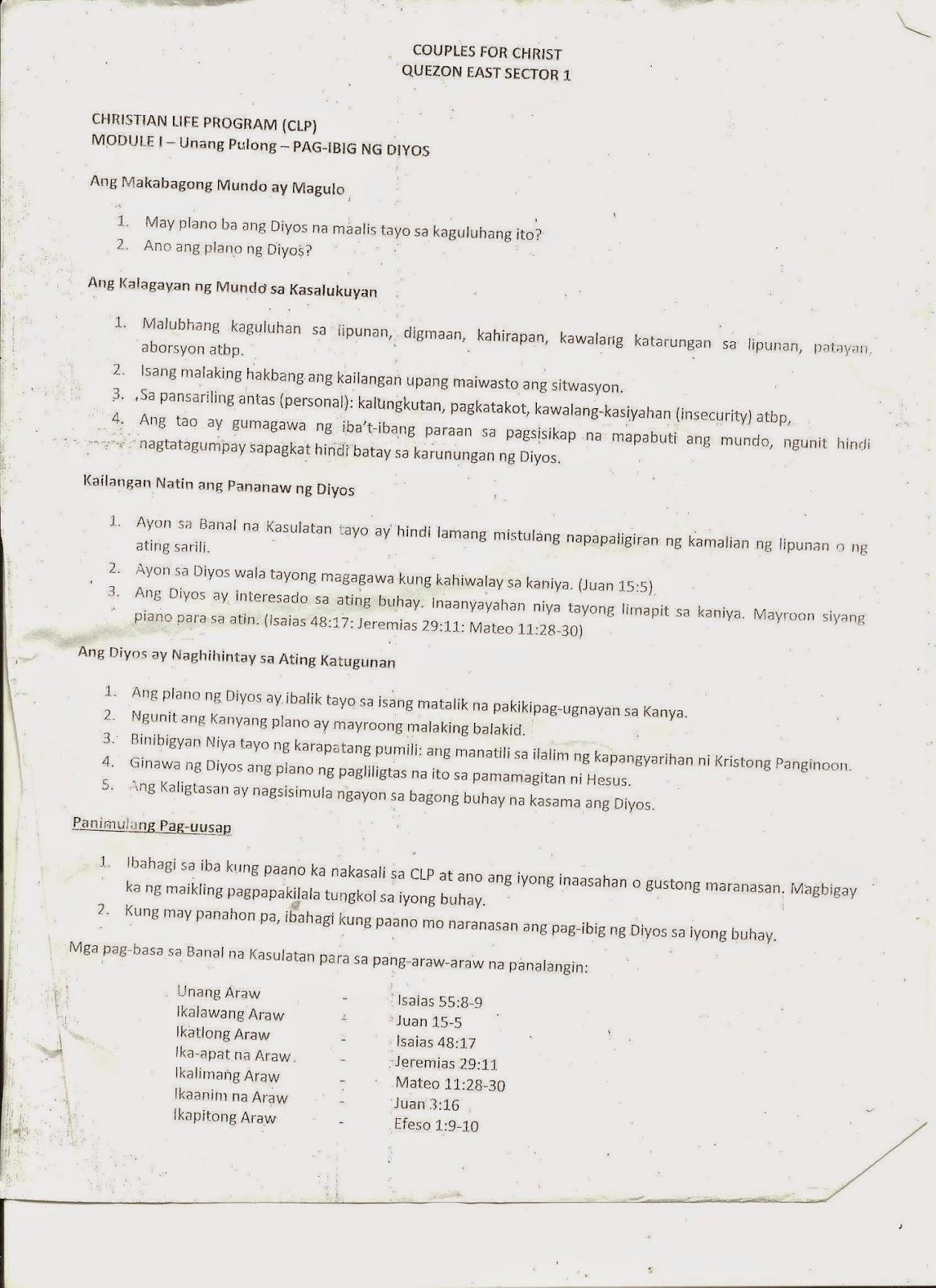 COUPLES FOR CHRIST Infanta, Quezon: CLP Participants