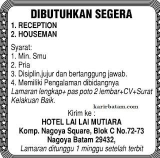 Lowongan Kerja Hotel Lai lai Mutiara