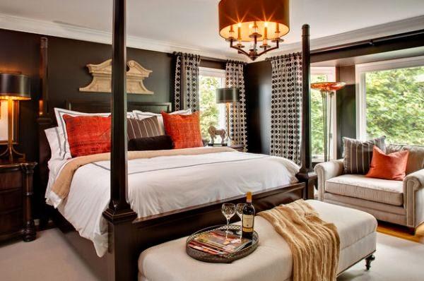 Dormitorio en marrón naranja