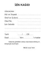 Boş bir öğrenci izin kağıdı örneği
