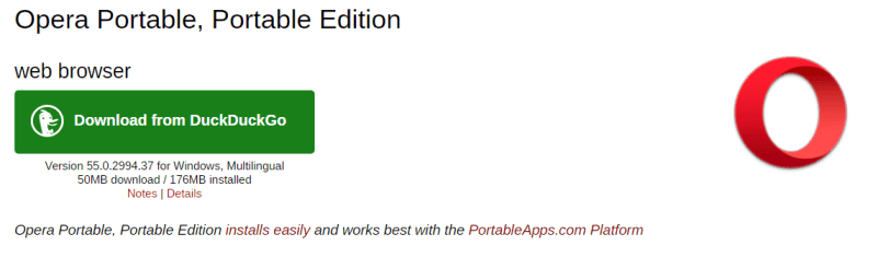 Descarga Opera Portable desde Portable Apps.