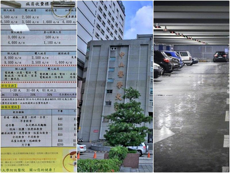 中山醫學大學附設醫院周邊停車美食住院資訊汽車24H日停收費資訊彙整